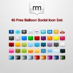 45 Free Balloon Social Icon Set